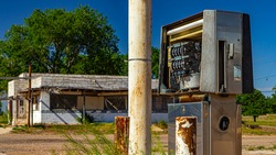 Abandoned Gas Station Fuel Pump in Estelline Texas - Shallow Depth of Field