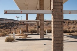 abandoned gas station in the desert outside the town of  Barstow, California