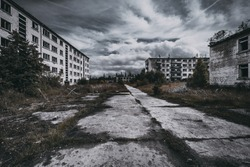 Abandoned ghost town Skrunda, Latvia. Abandoned ex Soviet buildings. Ruins of city. Ex Soviet legacy. World after nuclear war. No humans.