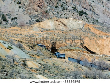 Abandoned gold and silver mines in the Comstock near Gold Hill, Nevada.