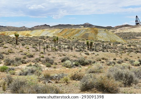Abandoned gold mining landscape at Goldfield in Nevada, USA