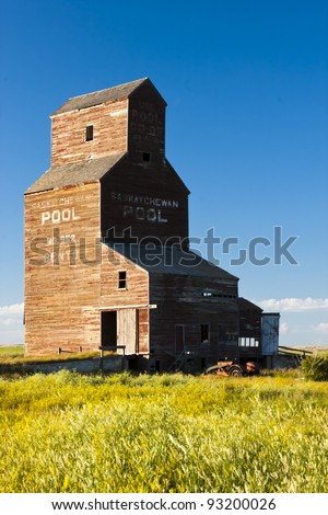 Abandoned grain elevator in the ghost town of Bents on the Canadian prairies