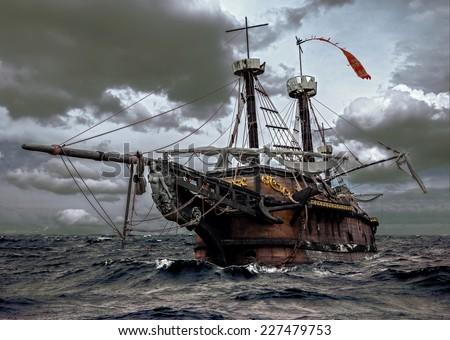Shutterstock Abandoned historic sailing ship in the stormy sea. Wooden sailboat sails in a storm at ocean. A mysterious boat in stormy waves.