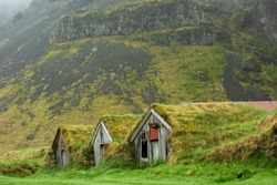 Abandoned historic turf house farm buildings in Nupsstadur, Iceland