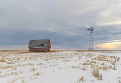Abandoned homestead on the prairie near Blackie, Alberta, Canada