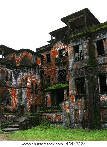 Abandoned hotel 'Bokor Palace' in Ghost town Bokor Hill station near the town of Kampot. Cambodia.