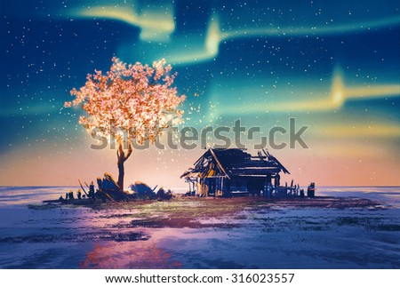 abandoned house and fantasy tree lights under Northern Lights,illustration painting