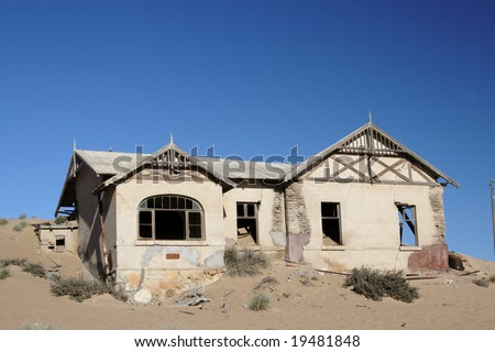 Abandoned house in the ghost town Kolmanskop in Namibia