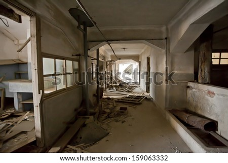 abandoned house, inside of abandoned building with mess break bricks