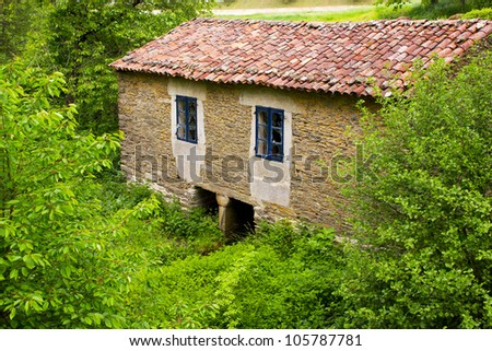 abandoned house with broken windows in the woods