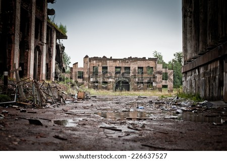 abandoned houses and ruined city wet and muddy, old