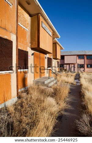 abandoned houses in Jeffrey City, Wyoming - a Uranium-mining town deserted in early 80s