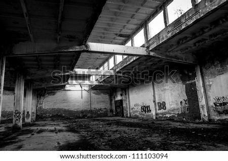 Abandoned industrial building angle shot