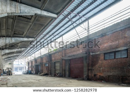 Abandoned Industrial Buildings ,Industrial interior of an old factory building