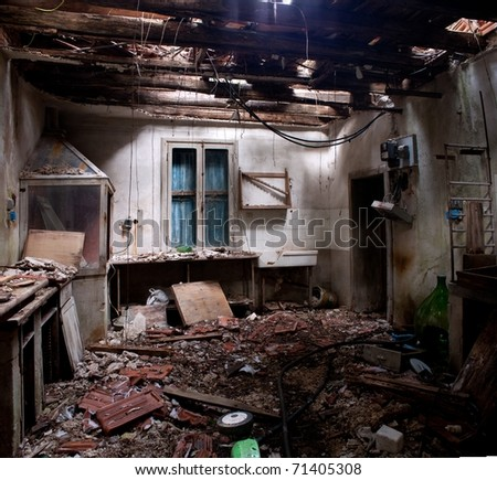 abandoned interior of old factory - stock photo