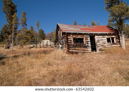 Abandoned log home in a Montana mining ghost town