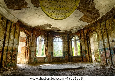 Abandoned mansion, hall, inside view