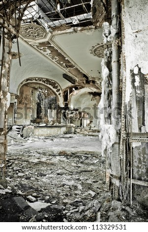 Abandoned music theater ballroom in Detroit Michigan. It has burned and it's once beautiful facade is crumbling away.