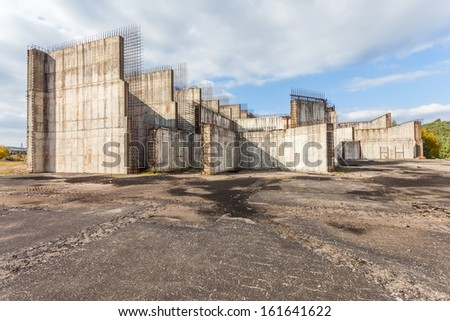 Abandoned nuclear power plant construction site in Zarnowiec, Poland. stock photo