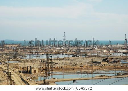 Abandoned oil derricks near Baku, Azerbaijan