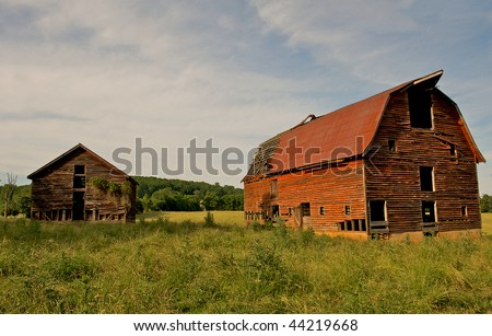 Abandoned old barns surrounded by beautiful blue sky.  Decaying wooden structures show weathering from desertion.