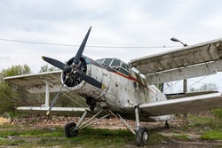 Abandoned old biplane. Airplane Cemetery