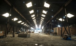 Abandoned old factory interior roof lights