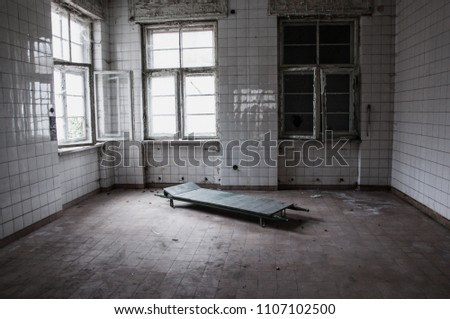 abandoned old german psychiatry hospital room patient bed - scary haunted asylum old house