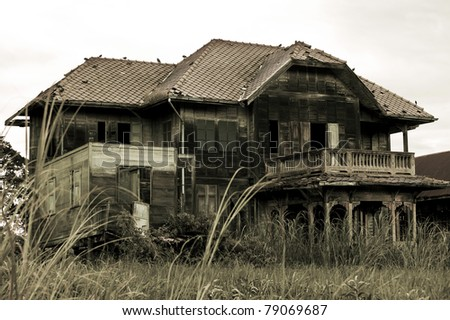 abandoned old house in Thailand #79069687