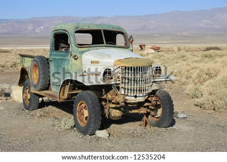 Abandoned old pickup in the desert