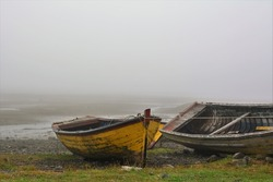 Abandoned old wooden fishing boats on the shore