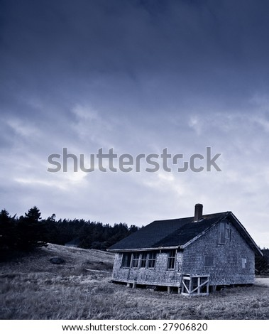 Abandoned old wooden schoolhouse in countryside. Photo taken at Yarmouth, Nova Scotia (Canada).