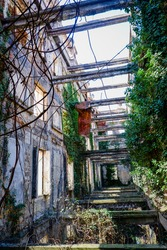 Abandoned parliament building interior in republic Abkhazia. Old and forgotten place.
