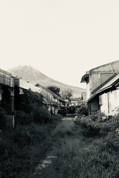 Abandoned places by mountain Sinabung