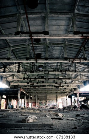 Abandoned plant horrible, dirty and symmetric interior