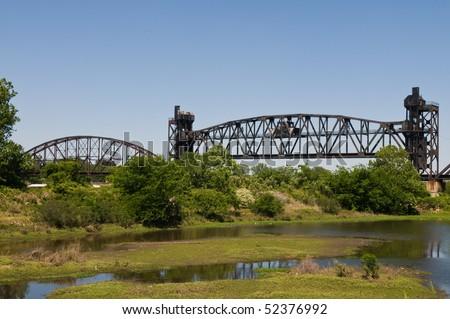 Abandoned railroad bridge over the Arkansas River, Little Rock, Arkansas