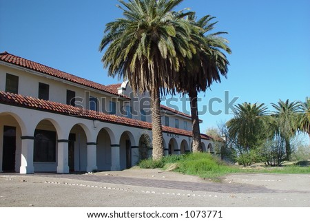 Abandoned Railroad Station in the Mojave Desert, along Route 66 in California - stock photo