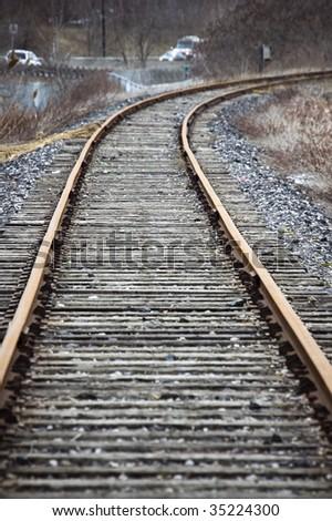 abandoned railroad / vanishing point / grunge background