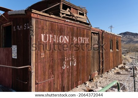 Abandoned Railway car in the Nevada desert in the Ghost Town Rhyolite.