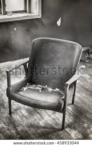 Abandoned Room With Old Broken Chair By The Window In Black And White 458933044