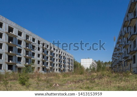 Abandoned ruined block of flats, former Russian soldier houses at uranium mining city Ralsko, Czech Republic, former military zone area was occupied by Soviet troops between 1968 and early 1990s.