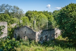 Abandoned ruined cement plant in the city of Kunda, Estonia.