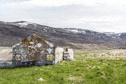 Abandoned ruined old house in the Westfjords, Iceland
