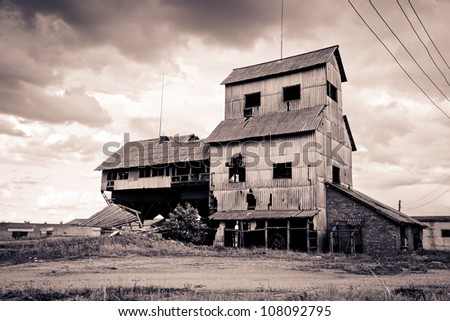 abandoned rural building in monochrome version