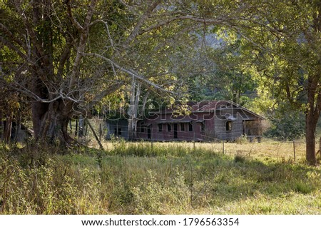 Abandoned rustic old homestead rural North Queensland. stock photo