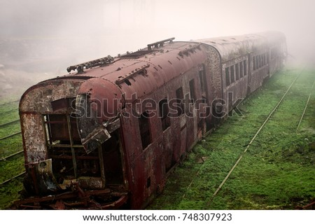 abandoned rusting train and...