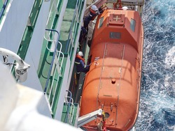 Abandoned ship drills in open sea on the vessel. Two person preparing to launch the lifeboat.