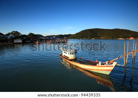 Abandoned ship is reminiscent of a fishing village in the eastern part of Thailand