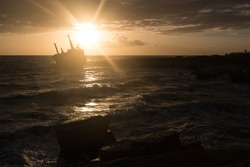 Abandoned shipwreck Edro at sunset in Peja near Paphos, Cyprus