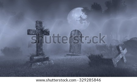Abandoned spooky cemetery with decaing gravestones and silhouette of witch on broomstick against big full moon. Monochromatic 3D illustration was done from my own 3D rendering file. Сток-фото ©